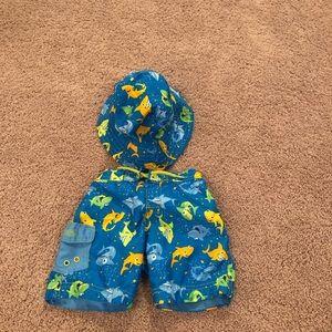 NWOT shark swim trunks & reversible hat 2T